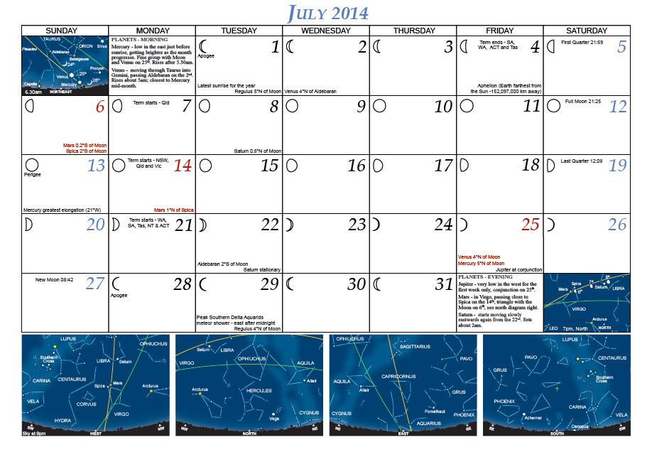2014 Calendar Month View